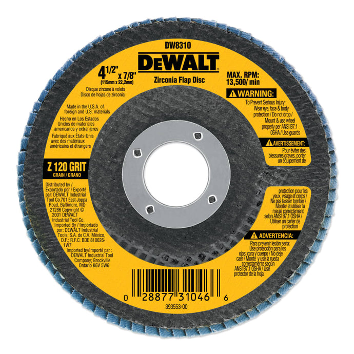 Type 29 HP Flap Disc, 4-1/2 in x 7/8 in, 120 Grit