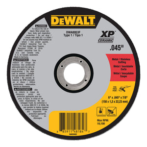 XP™ Ceramic Type 1 Metal Cutting Wheel, 6 in x .045 x 7/8 in