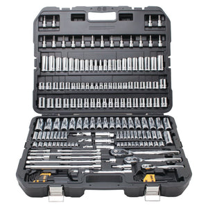 192 Piece Mechanics Tools Set, 1/2in; 1/4in; 3/8in Drive, 6 Point, Inch/Metric