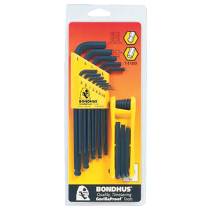 Balldriver L-Wrench and Fold-Up Set Combinations, 22 pieces, Hex Ball Tip, Inch