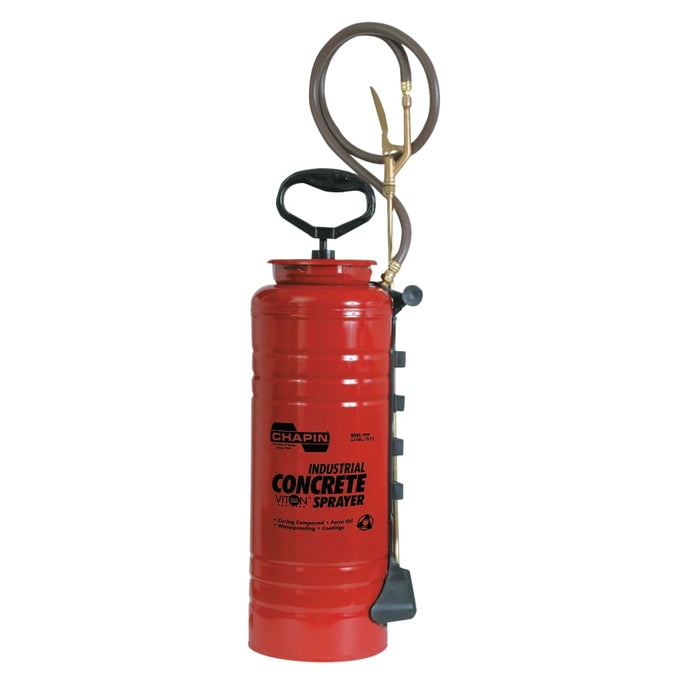 3.5 gal Ind Viton Concrete Open Head Sprayer, Red, 24 in Wand, 48 in Hose