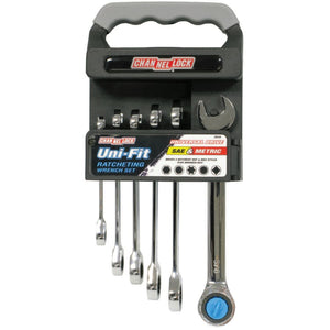 Uni-Fit Ratcheting Wrench Sets, SAE; Metric