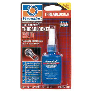 Permatex High Strength Red Threadlocker, 10 mL, 1/4 in - 3/4 in