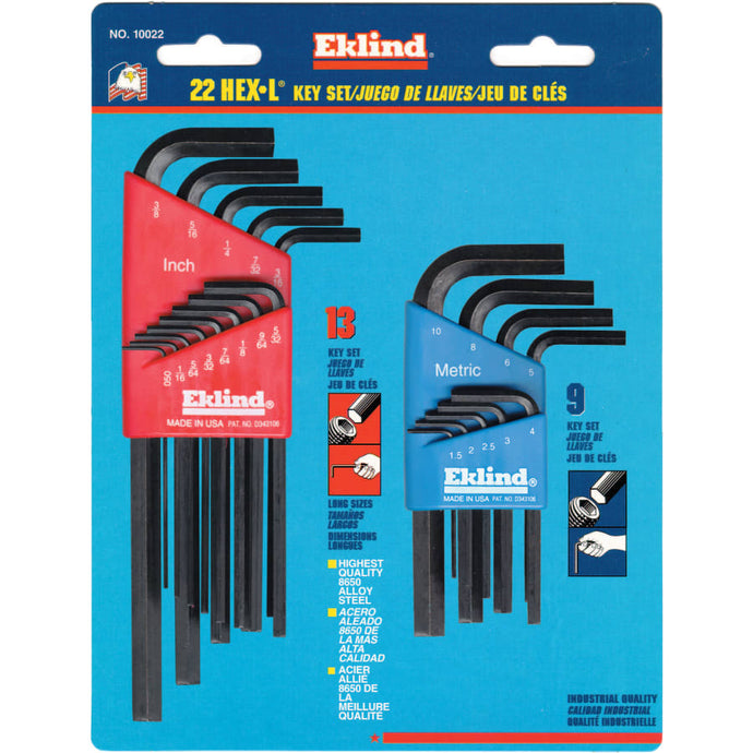Hex-L Key Set, 22 per card, Hex Tip, Inch/Metric, Short and Long Arms