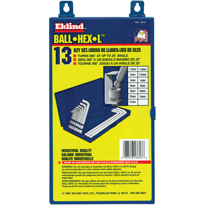 Ball-Hex-L Key Sets, 13 per box, Hex Ball Tip, Metric
