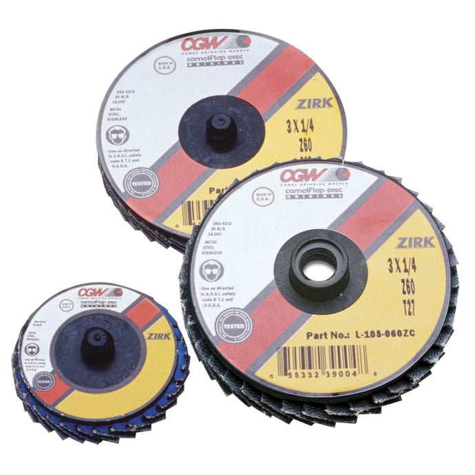 Flap Discs, Mini, Zirconia, Quick Change, Type R, 2 in, 60 Grit, 24,000 rpm