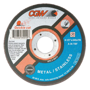 Extra Thin Cut-Off Wheel, Type 1, 4 in Dia, .04 in Thick, 60 Grit Alum. Oxide