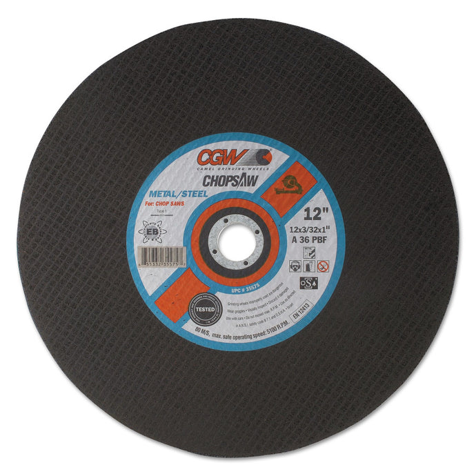 Cut-Off Wheel, Chop Saws, 14 in Dia, 3/32 in Thick, 36 Grit, for Metal/Steel