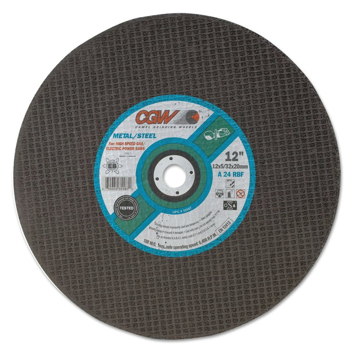 Cut-Off Wheel, Gas Saws, 14 in Dia, 5/32 in Thick, 1 in Arbor, 24 Grit