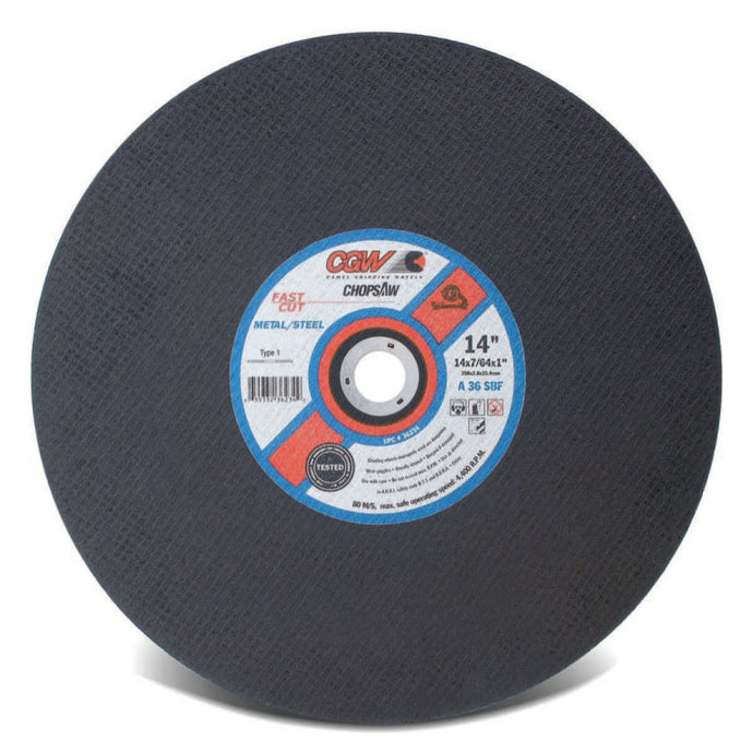 Cut-Off Wheel, Chop saws, 14 in Dia, 3/32 in Thick, 30 Grit Alum. Oxide