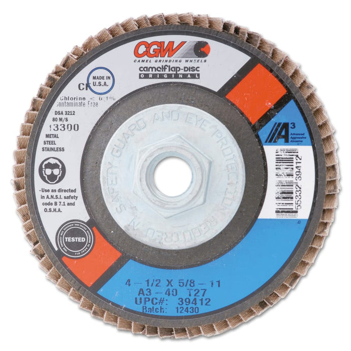 CGW Abrasives Flap Wheel, 2 in x 1 in, 40 Grit, 25000 RPM