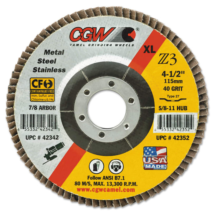 Cut-Off Wheel, Type 27, 4 1/2 in Dia, .045 in Thick, 46 Grit Alum. Oxide