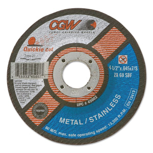 Cut-Off Wheel, Type 27, 5 in Dia, .045 in Thick, 60 Grit Zirconia/Alum.