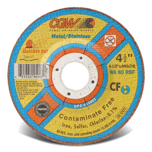 Contaminate Free Cut-Off Wheel, 6 in Dia, .045 in Thick, 60 Grit Alum. Oxide