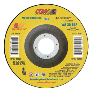 Thin Cut-Off Wheel, 4 1/2 in Dia, 3/32 in Thick, 7/8 Arbor, 36 Grit Alum. Oxide