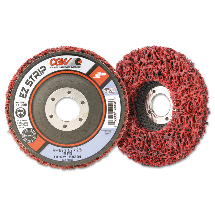 EZ Strip Wheels, Non-Woven, 4 1/2 X 5/8, Silicon Carbide, Red