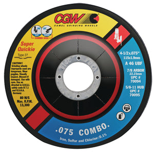 Cut/Grind Combo Wheel, 4 1/2 in Dia, .075 in Thick, 5/8 in Arbor, 46 Grit