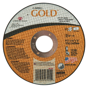 Carbo GoldCut Reinforced Aluminum Oxide Abrasives, 4 1/2 in Dia., 60 Grit