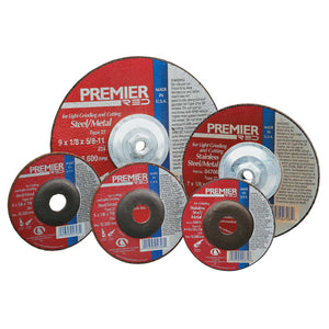 Premier Red Abrasive Wheels for Light Grinding/Cutting, 4 1/2in Dia, 7/8in Arbor