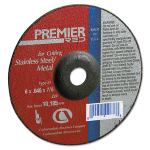 Premier Redcut Abrasive Wheel for Cutting, 5 in Dia, 1/8 in Thick Zirconia