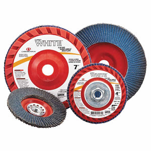 White Resin Cloth Flap Discs, 7, 60 Grit, 5/8 Arbor, 8,600 rpm
