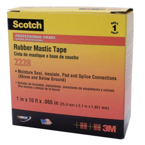 Scotch Rubber Mastic Tapes 2228, 2 in x 10 ft, 65 mil, Black