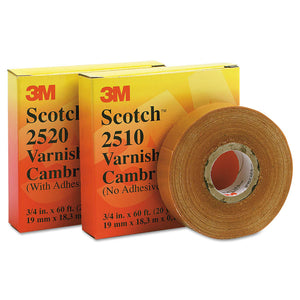 Scotch Varnished Cambric Tapes 2510, 36 yd x 1 in, Yellow