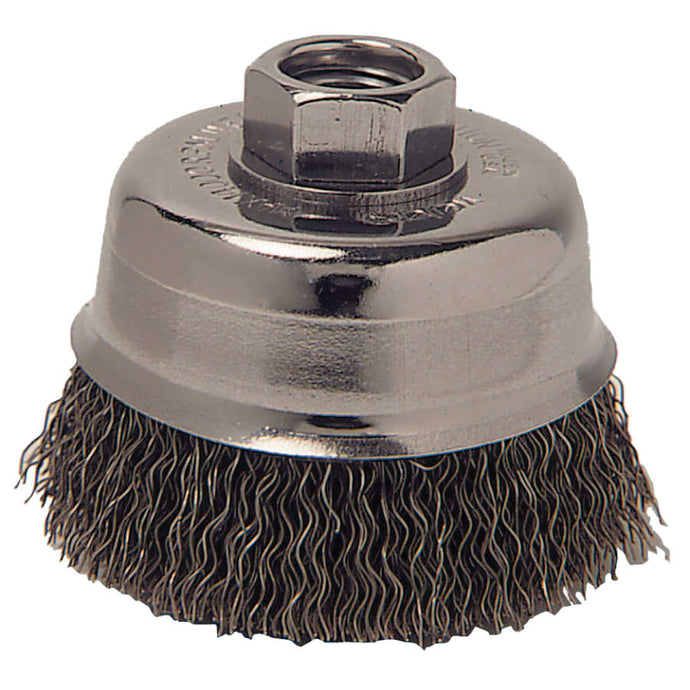 Crimped Wire Cup Brush, 3 in Dia., 5/8-11 Arbor, 0.012 in Stainless Steel