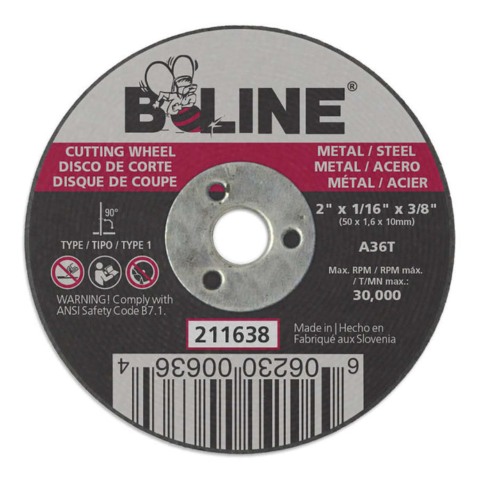 Cutting Wheel, 2 in dia, 1/16 in Thick, 3/8 in Arbor, 36 Grit, Alum Oxide