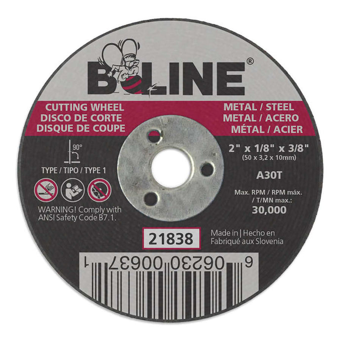 Cutting Wheel, 2 in dia, 1/8 in Thick, 3/8 in Arbor, 30 Grit, Alum Oxide