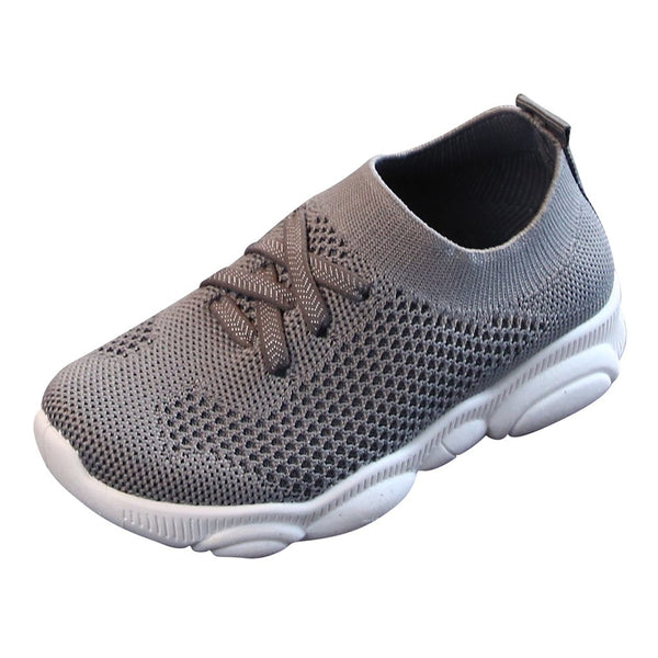 Kid`s Solid Stretch Mesh Sport Shoes