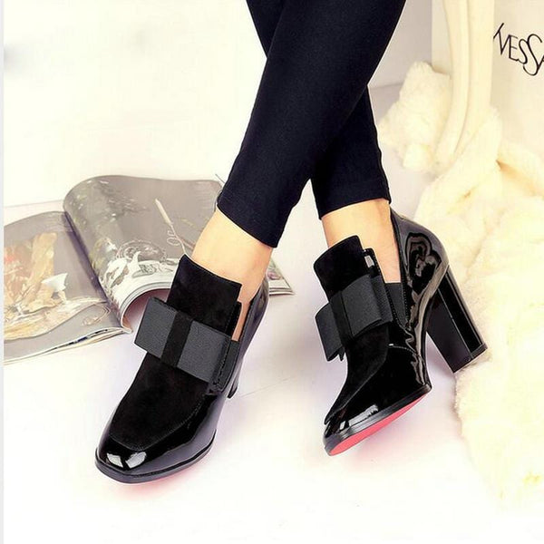 Women`s Red Bottom sole square high heels