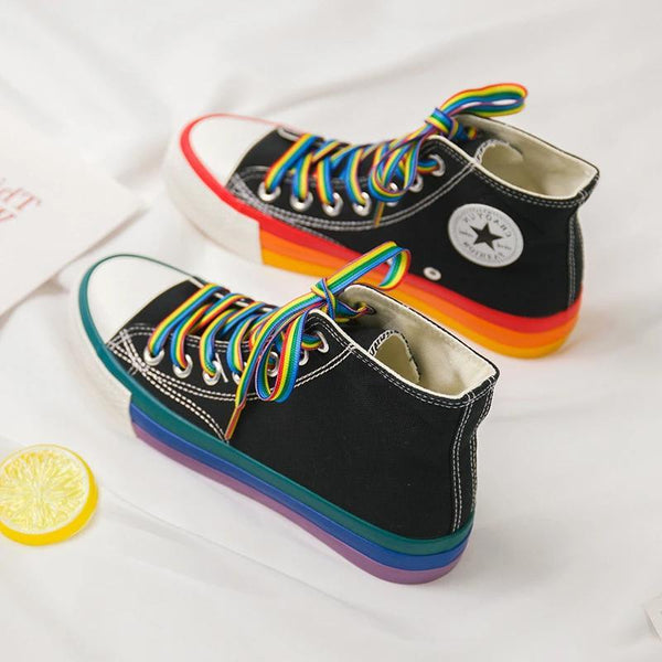 Women`s High Top Rainbow Sneakers