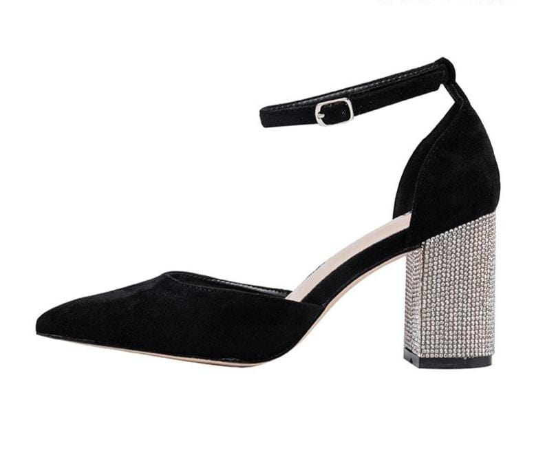 Women`s Pointed Toe Square Crystal Bling High Heels