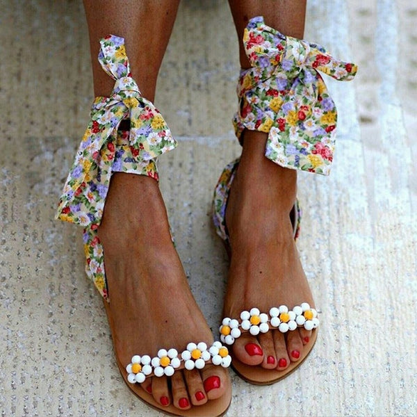 Women Flat Sandals Ankle Strap Beaded