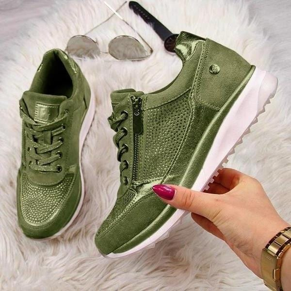 Women`s Gold Sneakers with  Zipper