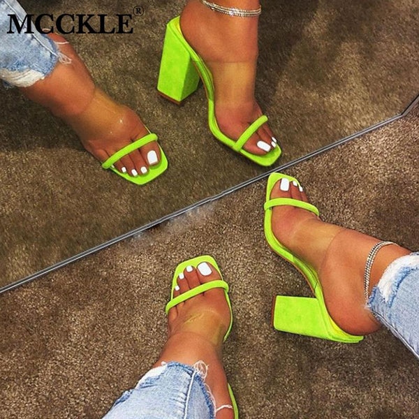 Women Candy Color Open Toes Thick Heel Shoes