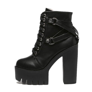 Women  Black Boots Soft Leather High Heels Punk style