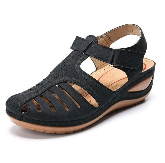 Women`s Summer Leather Vintage Sandals Buckle