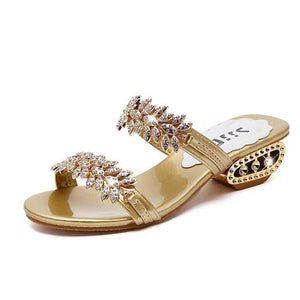 Women`s Rhinestone outdoor  flat slippers