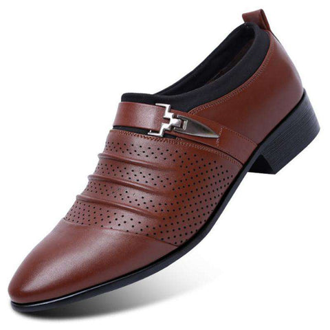 Men's Breathable Leather Slip-On Shoes - Discountz Market
