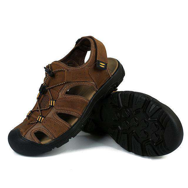 Genuine Leather Toe Protecting Sandals - Discountz Market