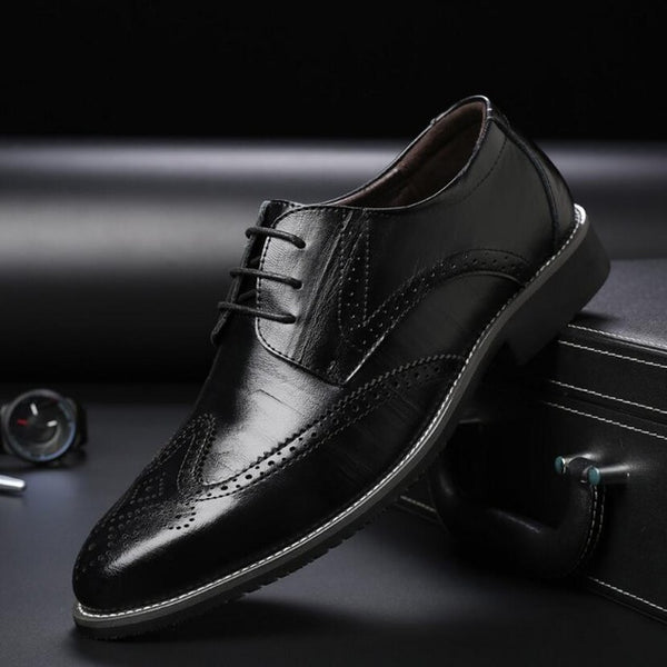 New men's business casual shoes leather lace - Discountz Market