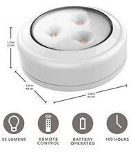Brilliant Evolution Wireless LED Puck Light 6 Pack with Remote Control | LED Under Cabinet Lighting | Closet Light | Battery Powered Lights | Under Counter Lighting | Stick On Lights