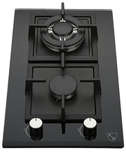 "K&H 2 Burner 12"" Built-in NATURAL Gas Glass Cast Iron Cooktop 2-GCW"