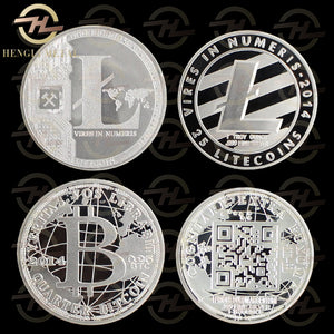 FREE Souvenir Silver Plated 25  Physical Litecoin & Bitcoin!!!