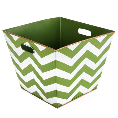 Chevron Green Storage Bin