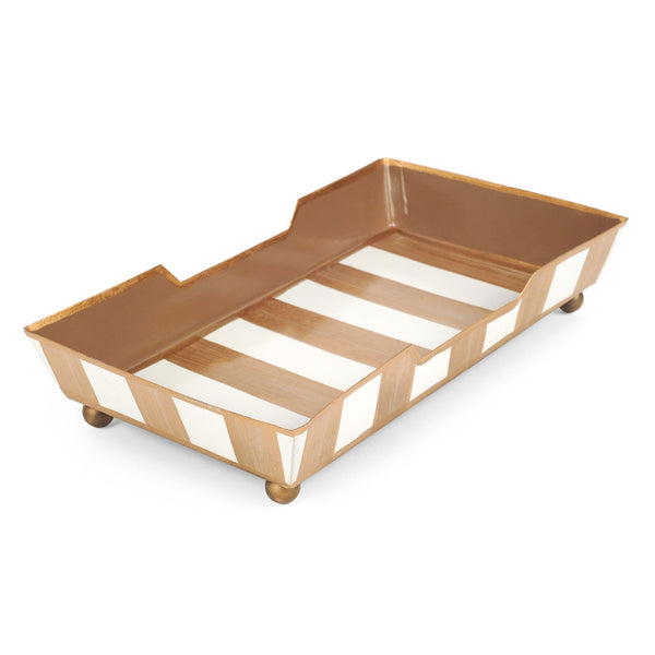 Brush Stripe Cream Guest Towel Tray