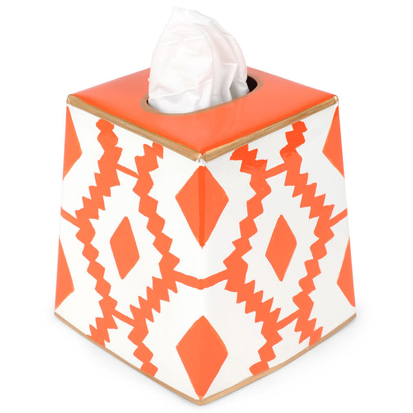 Aztec Orange Tissue Box Cover