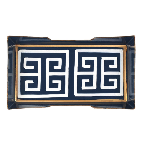 Greek Key Navy Guest Towel Tray
